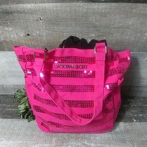 Victoria's secret sequin stripe hot pink tote
